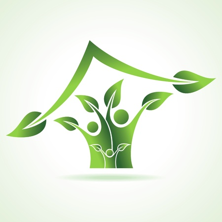 природа: эко семья значок Сделать стартовой акции Vetor