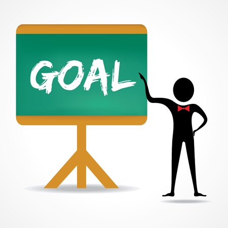 insist: Man points to goal word on green board stock vector