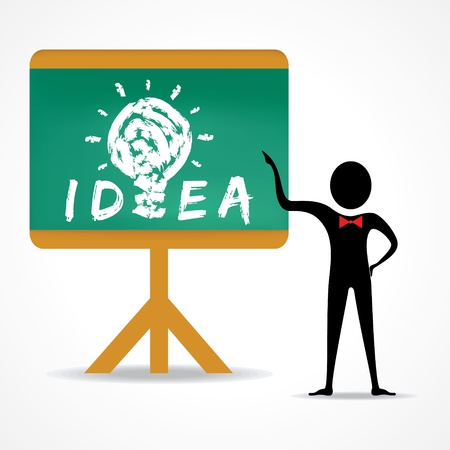 light classroom: Man points to idea concept on green board stock vector