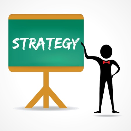 Man points to strategy word on green board stock vector