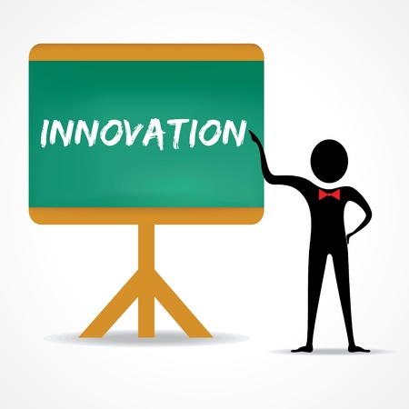 green board: Man points to innovation word on green board stock vector