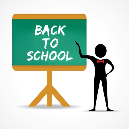 green board: Man points to back to school word on green board stock vector