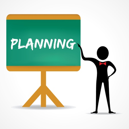 green board: Man points to planning word on green board stock vector