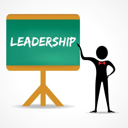 green board: Man points to leadership word on green board stock vector