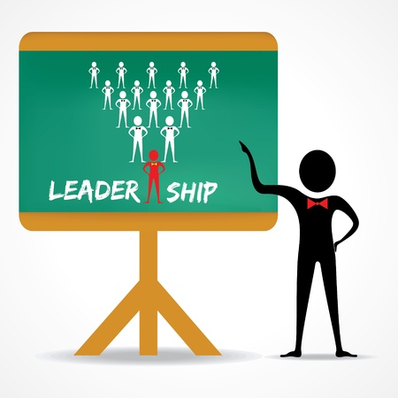 green board: Man points to leadership concept on green board stock vector