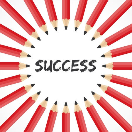 Success word with pencil background stock vector Vector