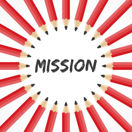 wording: Mission word with pencil background stock vector