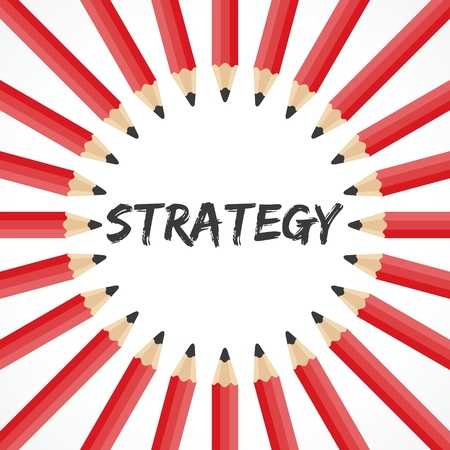 Strategy word with pencil background stock vector