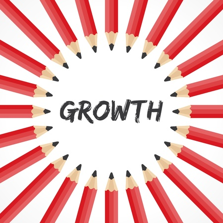 Growth word with pencil background stock vector Vector