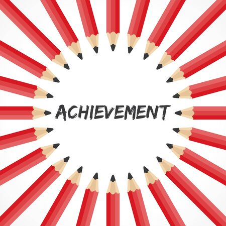 achiever: Achievement word with pencil background stock vector
