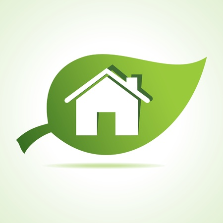 Home icon at leaf stock vector Stock Vector - 22174452