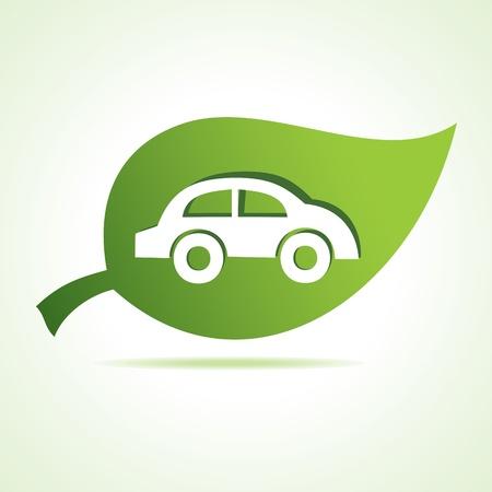 car leaf: car icon at leaf stock vector