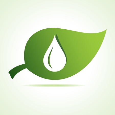 environmentally: water drop icon at leaf stock vector Illustration