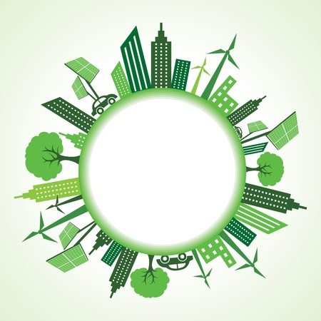 abstract mill: Eco cityscape around circle stock vector