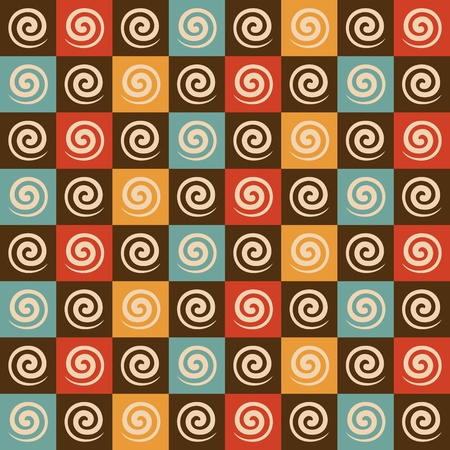 spiral vector: Retro spiral and square pattern background stock vector Illustration