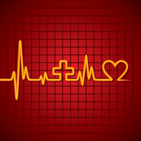 cure: Heartbeat make medical and heart symbol stock vector Illustration