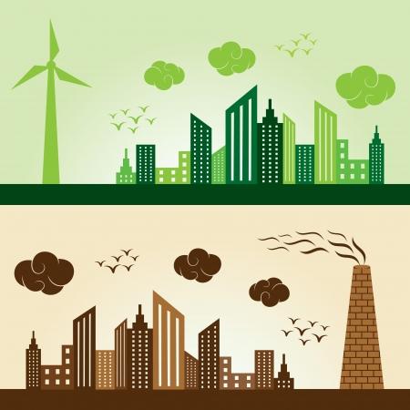 energie: Eco und verschmutzten Stadt Konzept Hintergrund stock vector Illustration