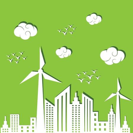 Eco city concept background stock vector Vector