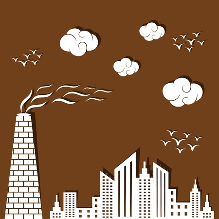 polluted: Polluted city concept background stock vector Illustration