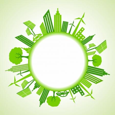 円の周囲のエコ都市の景観  イラスト・ベクター素材