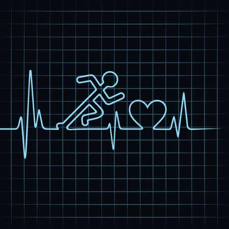 Heartbeat make running man symbol