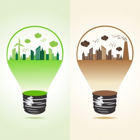 environmental awareness: Eco and polluted cityscape in bulb