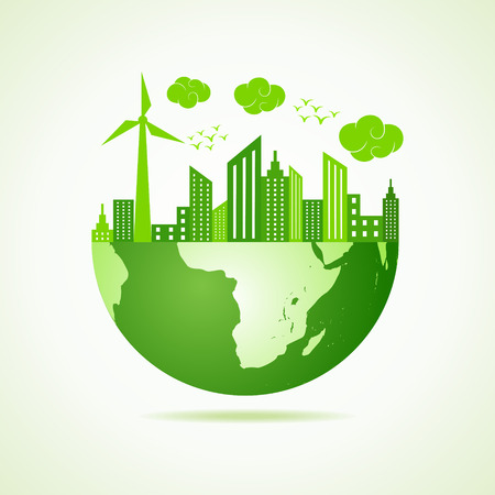 緑の都市景観とエコ地球コンセプト