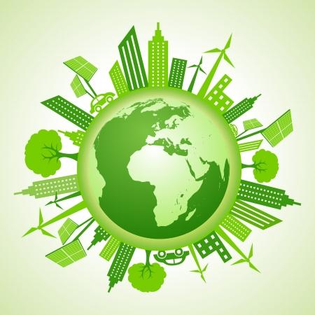 エコ地球に行くグリーン コンセプト  イラスト・ベクター素材