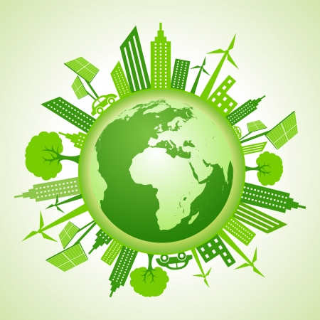Eco earth with go green concept  Çizim