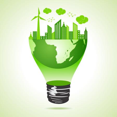 Eco earth concept with green cityscape Stock Vector - 22221845