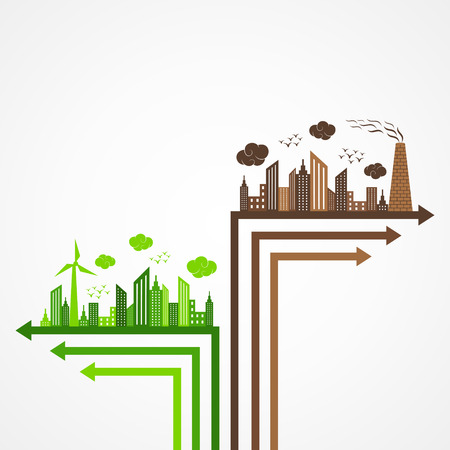 Ecology and pollution concept with brain Stock Vector - 22221848