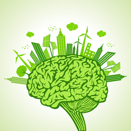 green buildings: Ecology concept with brain