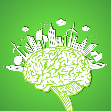 Ecology concept with brain  Vector