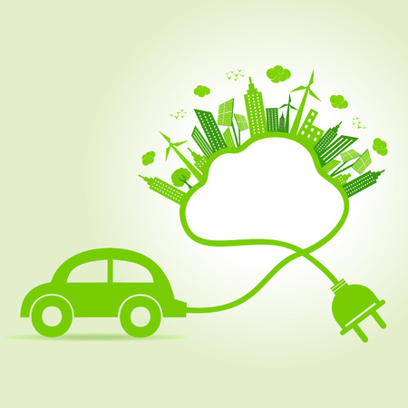 Ecology concept with eco car and cloud Stock Vector - 22221888