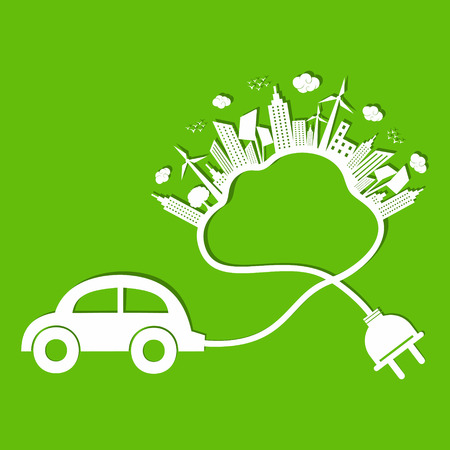 oxygen transport: Ecology concept with eco car and cloud  Illustration