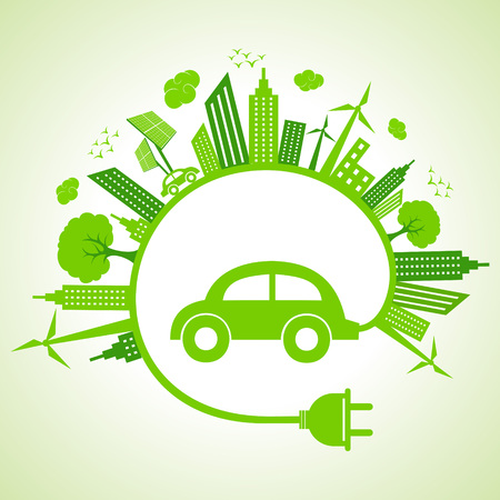 Ecology concept with eco car Stock Vector - 22221890