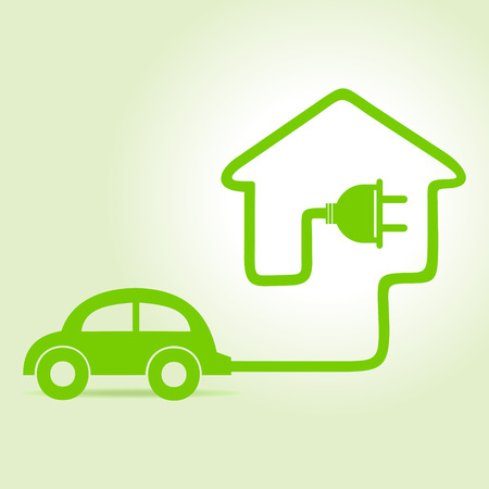eco car: Eco car make a home icon  Illustration
