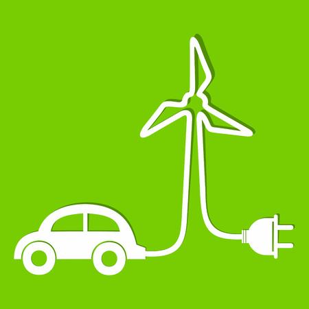 car leaf: Eco car make a wind-mill icon