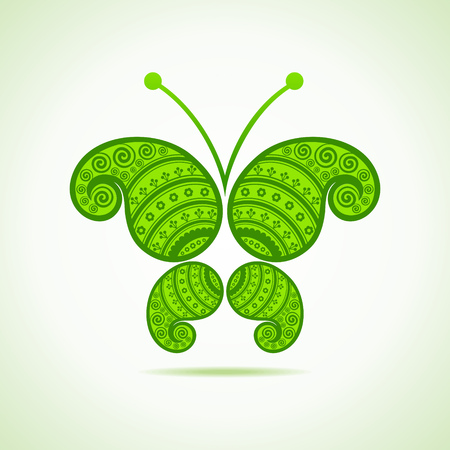 Green decorative butterfly-vector illustration  Vector