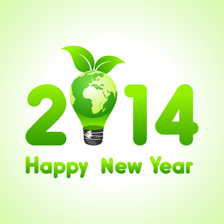 Creative new year with eco earth bulb,2014 stock vector  Illustration