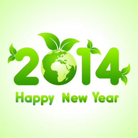 Creative new year with eco earth,2014 stock vector  Vector