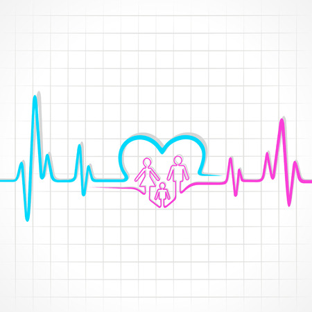 heartbeat: Heartbeat make family and heart symbol
