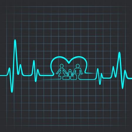 ハートビートの家族との心のシンボルを作る  イラスト・ベクター素材