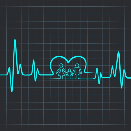 醫療保健: 心跳使家庭和心臟符號 向量圖像