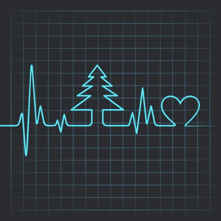 Illustration of heartbeat make christmas tree and heart Vector