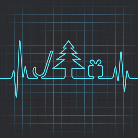 Illustration of heartbeat make christmas symbols Vector