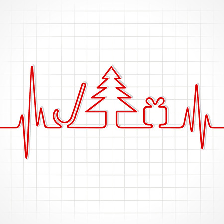 Illustration of heartbeat make christmas symbols