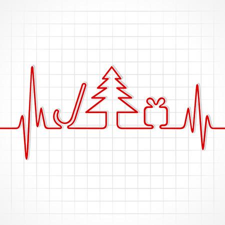 Illustration of heartbeat make christmas symbols