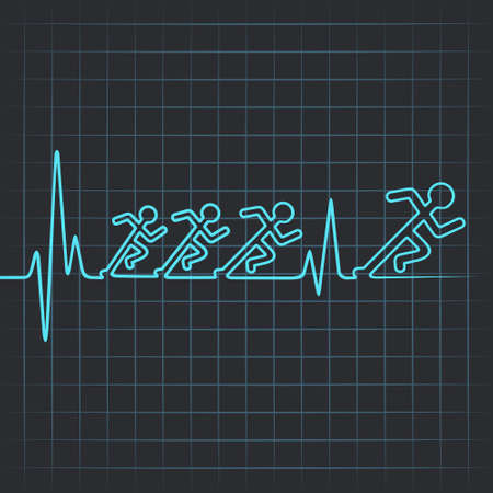 Illustration of heartbeat make running men