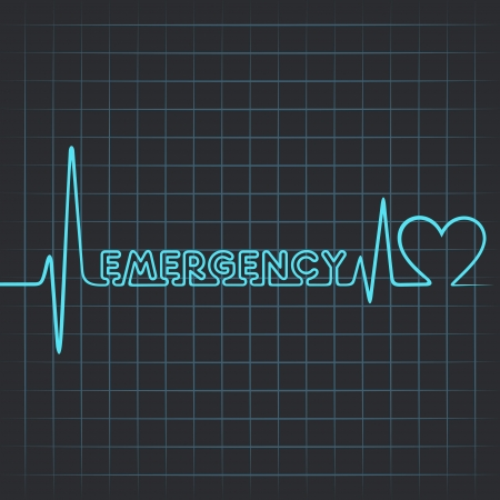 Illustration of heartbeat make emergency word and heart